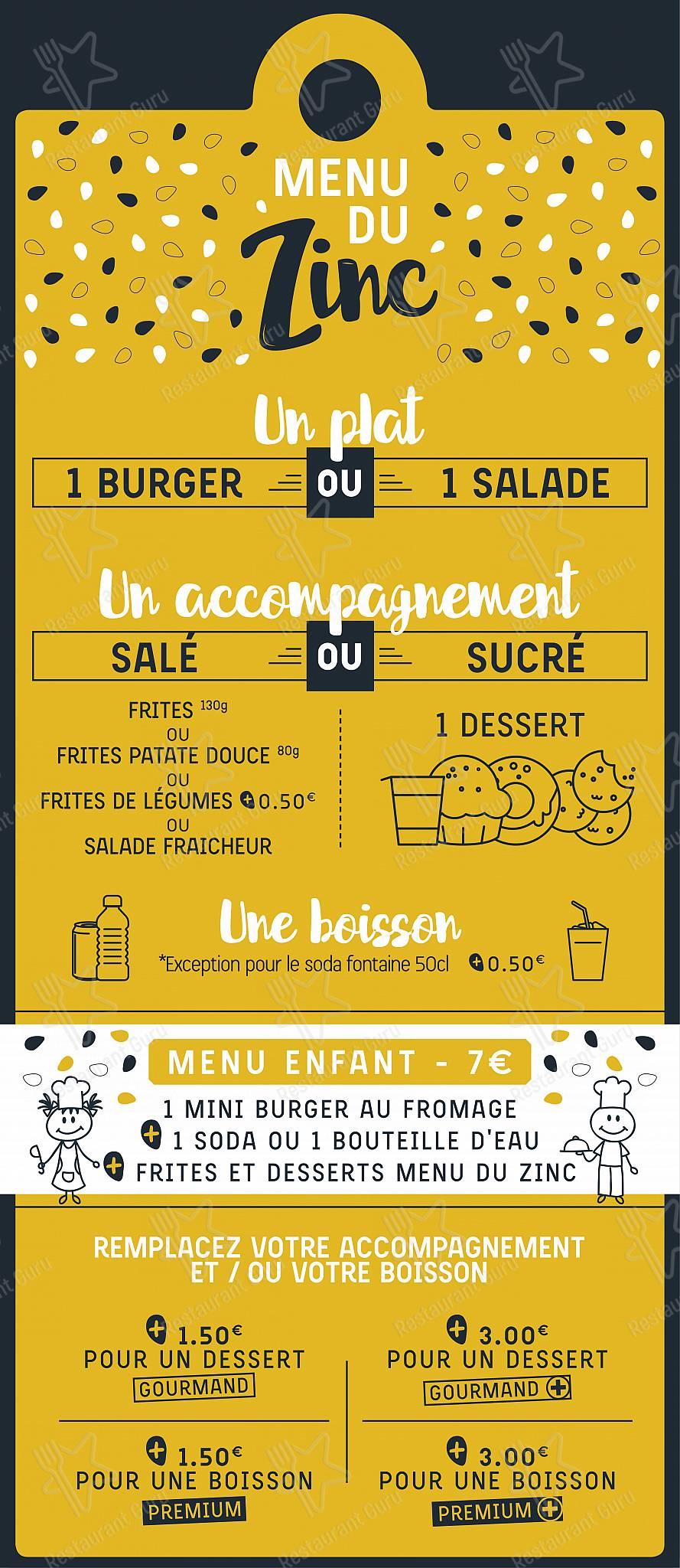 Notre menu pour Le Zinc à Burger dans Lyon