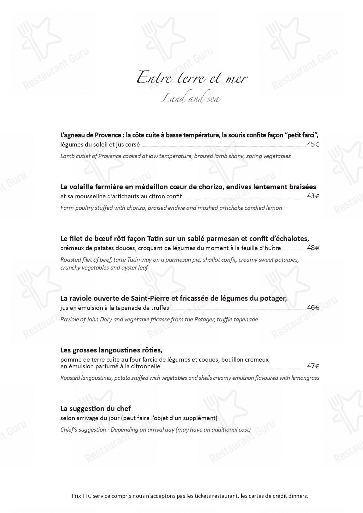 Le Potager du Mas menu