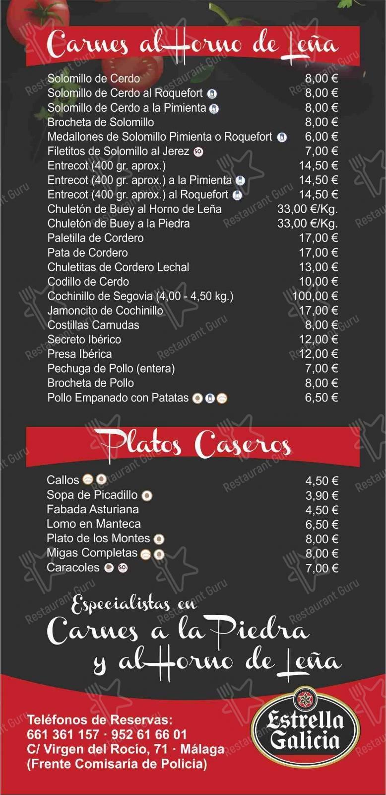 Взгляните на меню Restaurante Casa Tuti