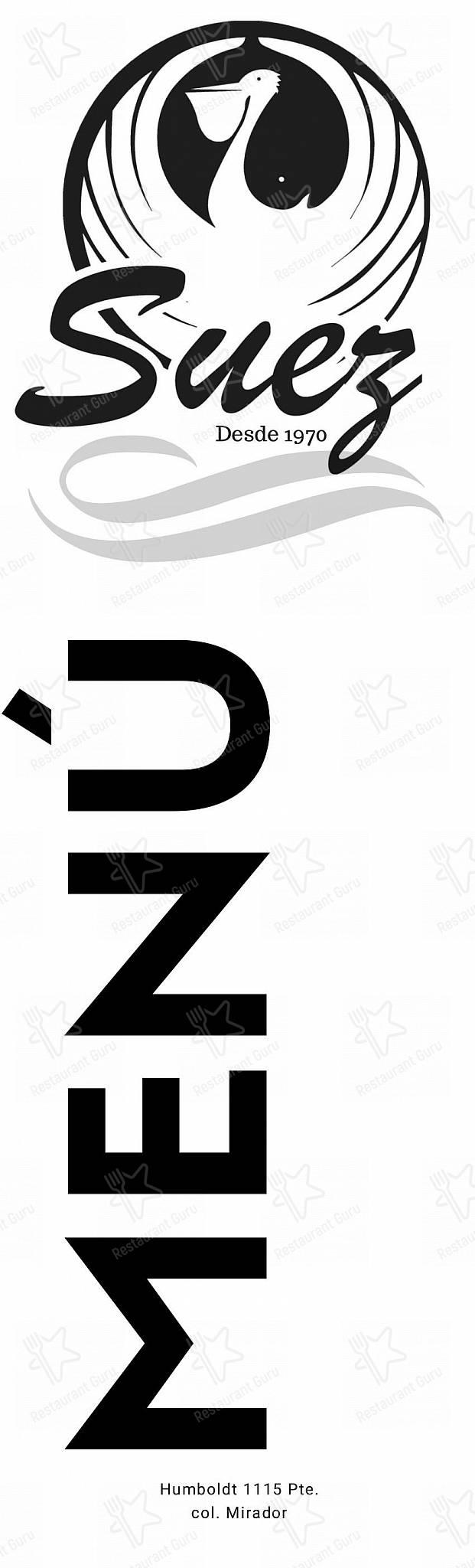Carta de Suez - comidas y bebidas
