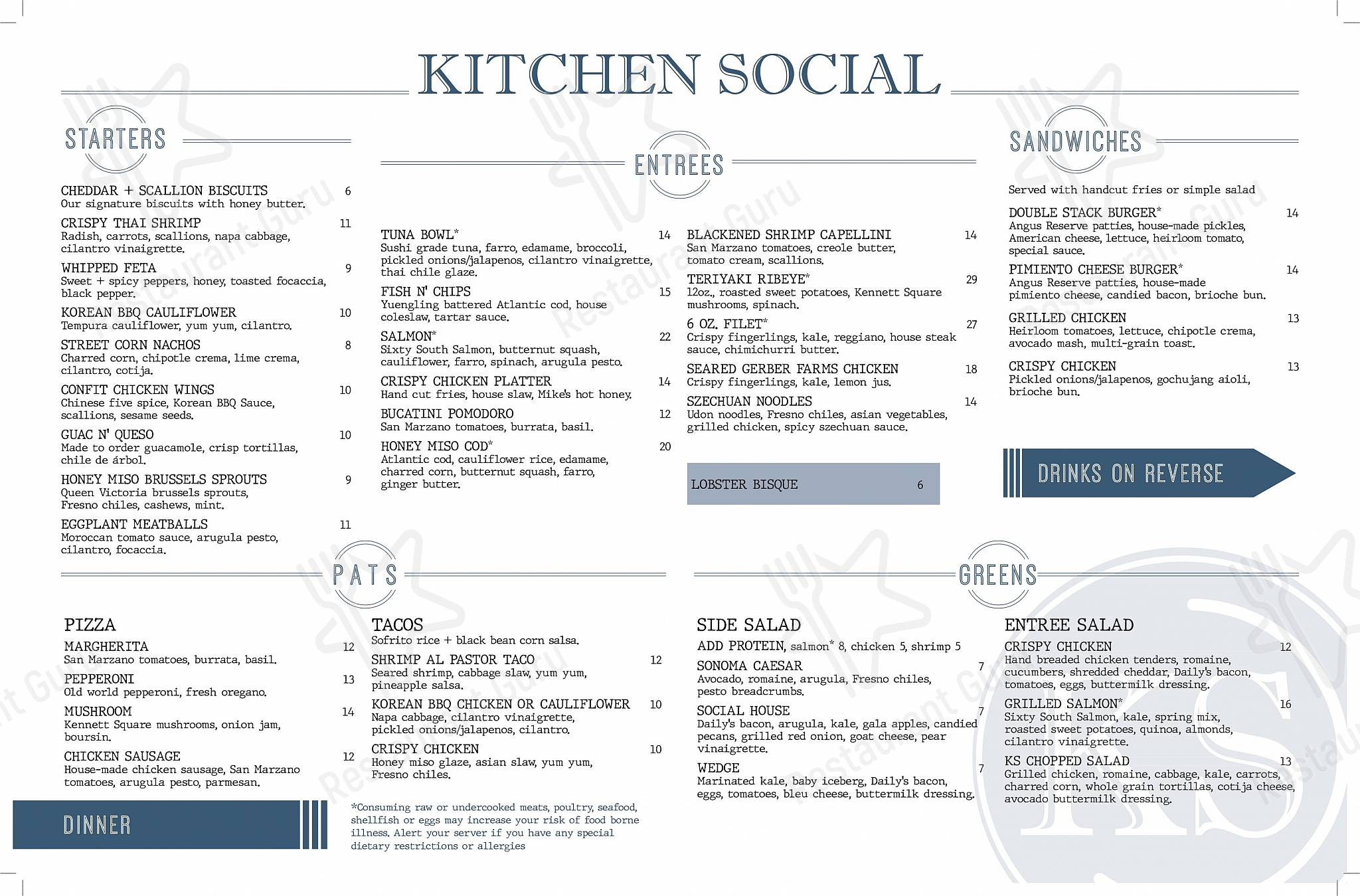Menu At Kitchen Social Pub Bar Columbus