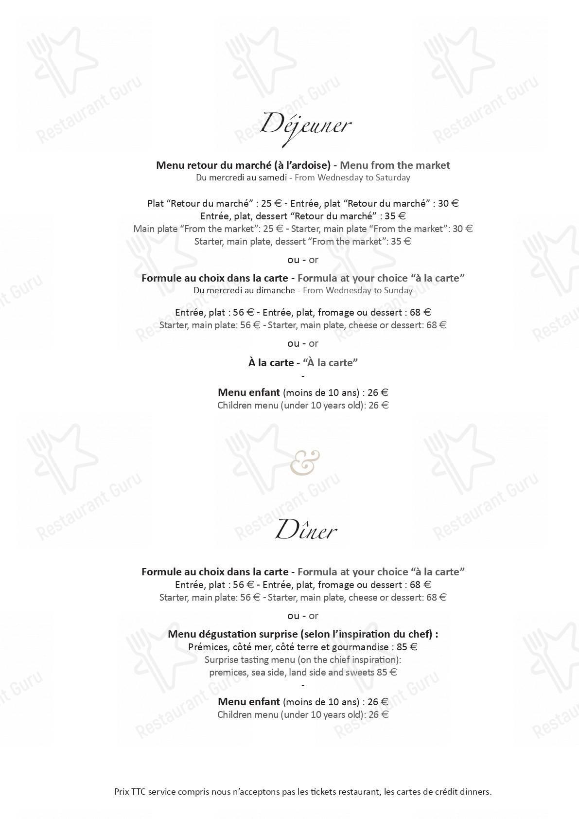 Menu pour Le Potager du Mas - repas et boissons