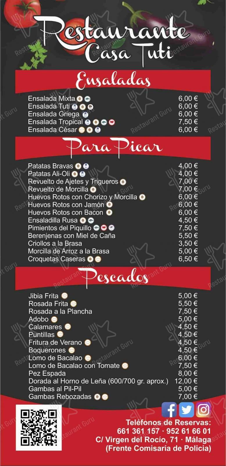 Меню Restaurante Casa Tuti - еда и напитки