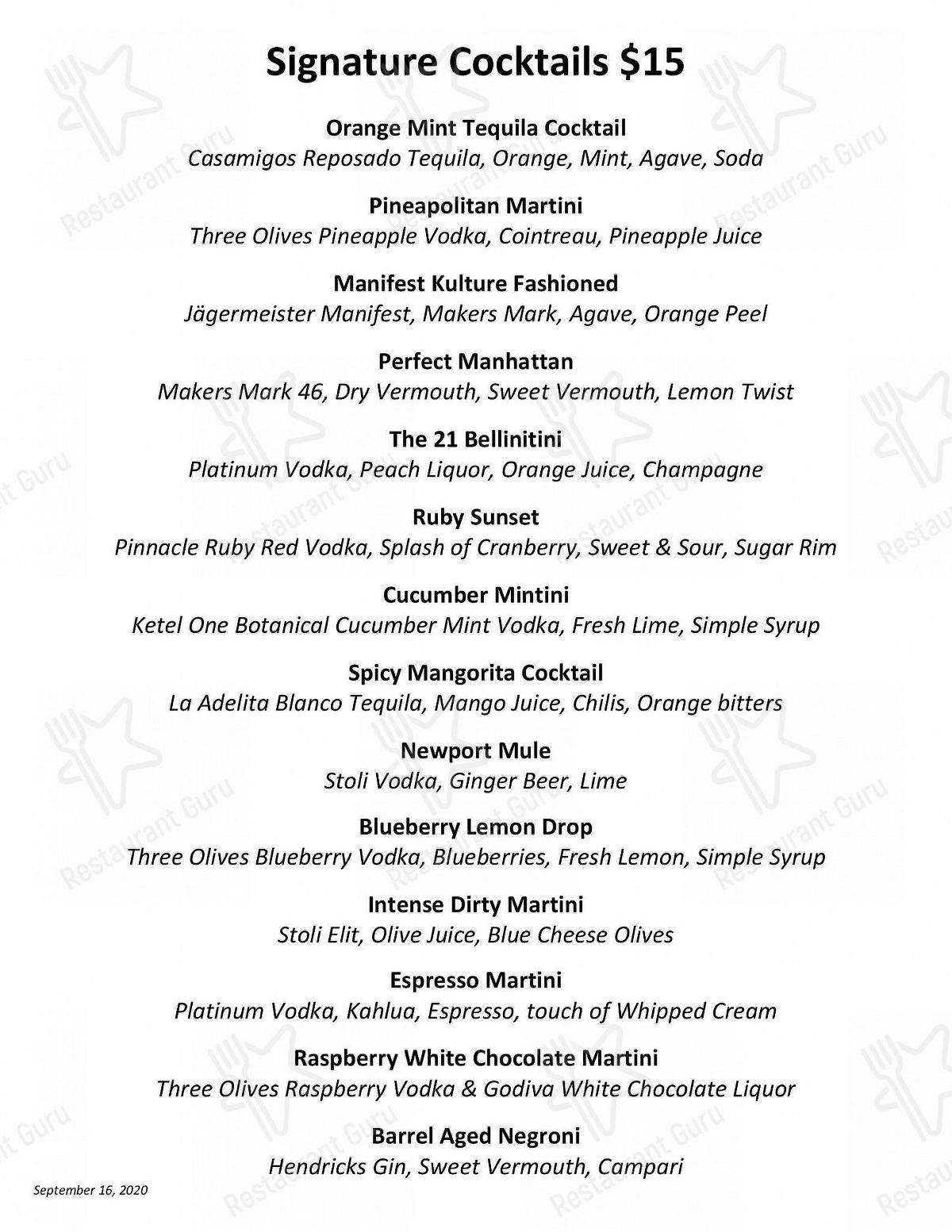 21 Oceanfront menu - meals and drinks