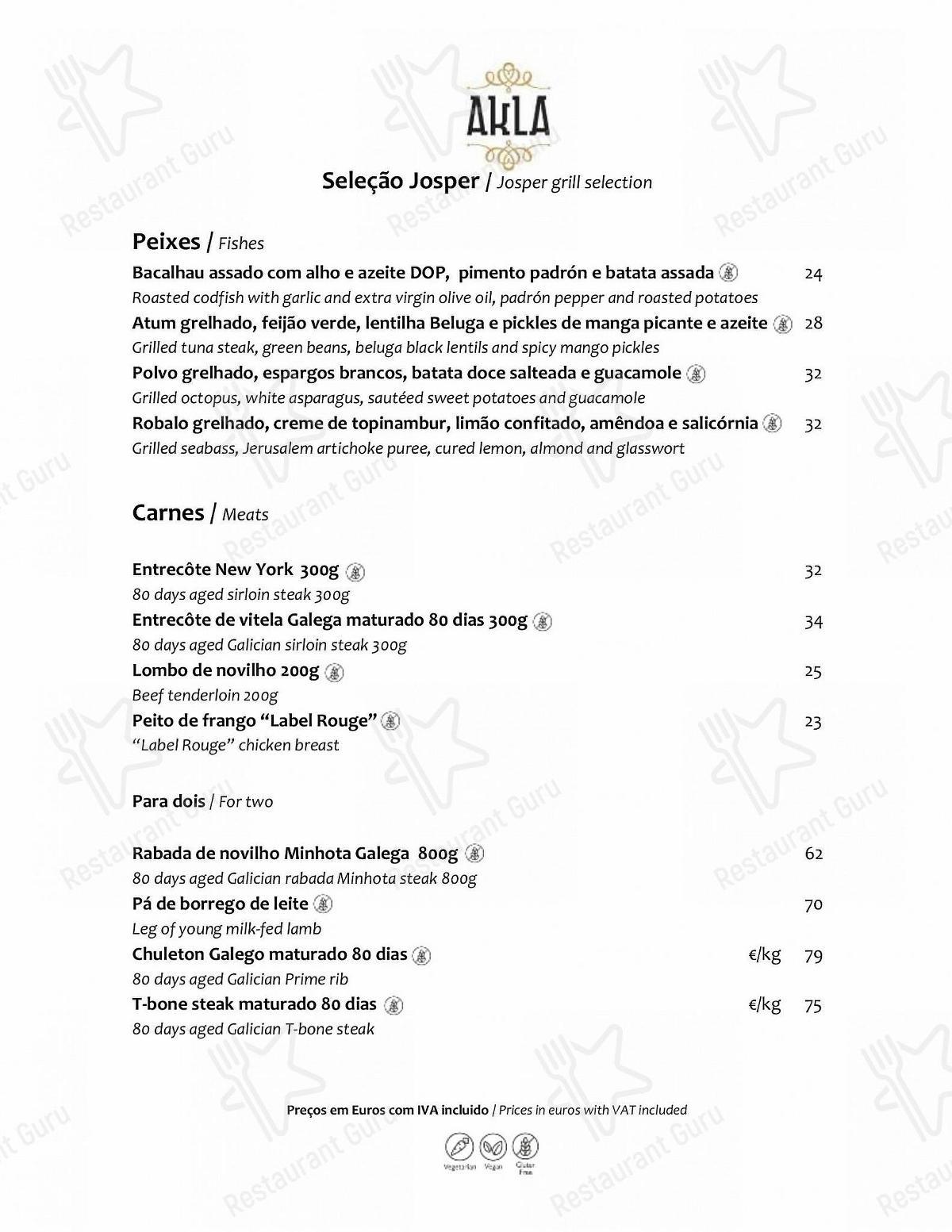 Menu for the AKLA restaurant