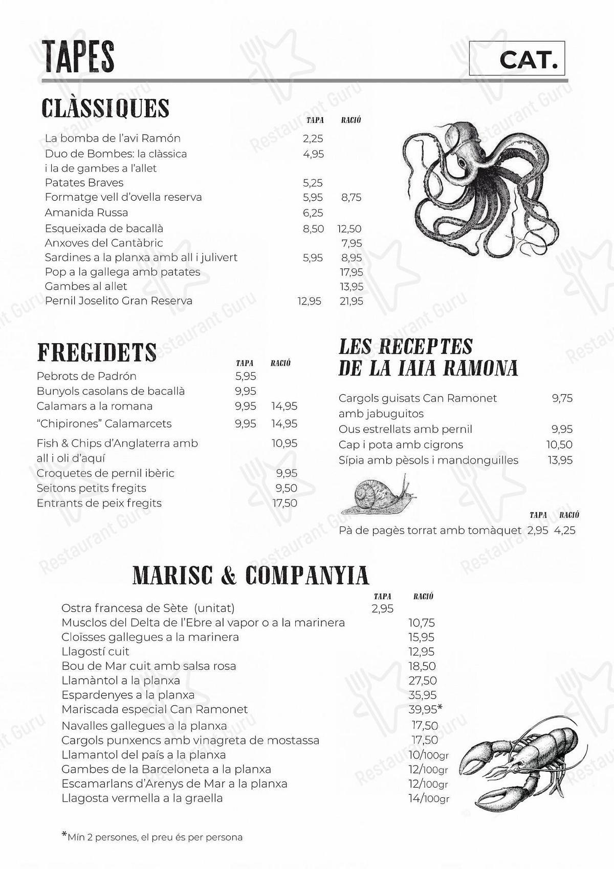 Carta de Can Ramonet restaurante