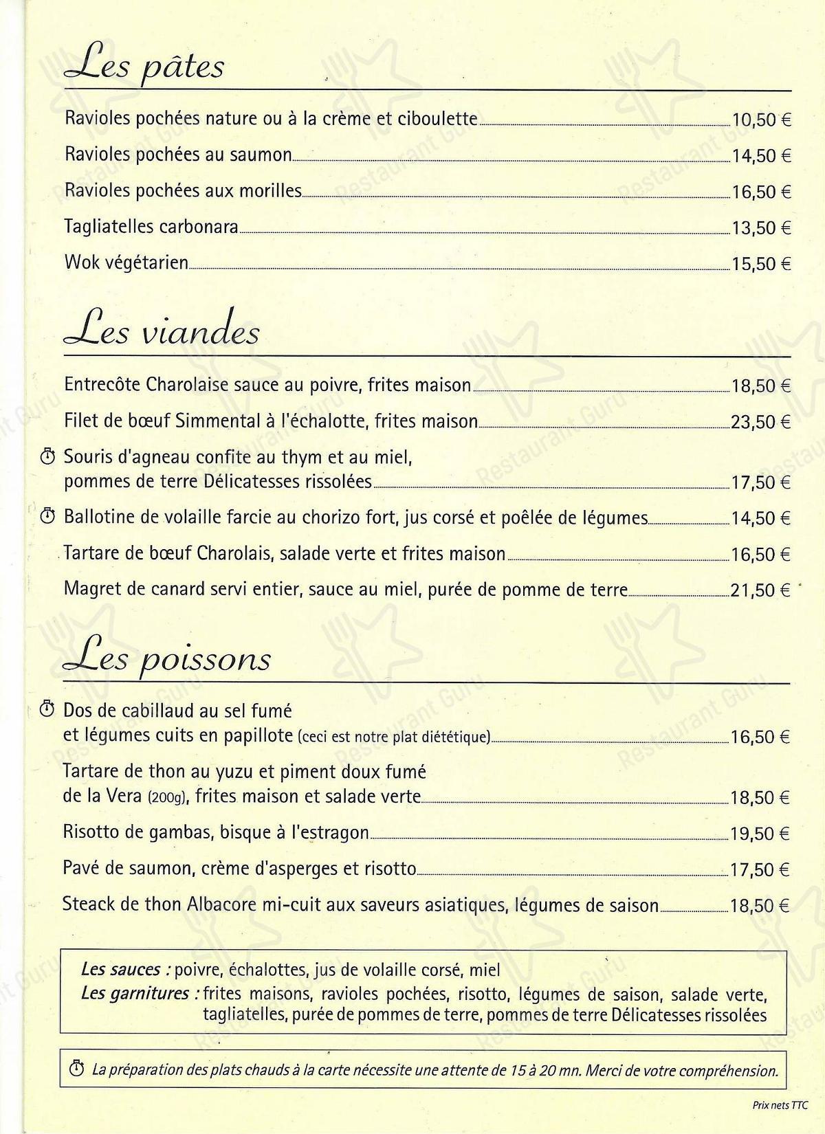Carta de La Cuisine restaurante