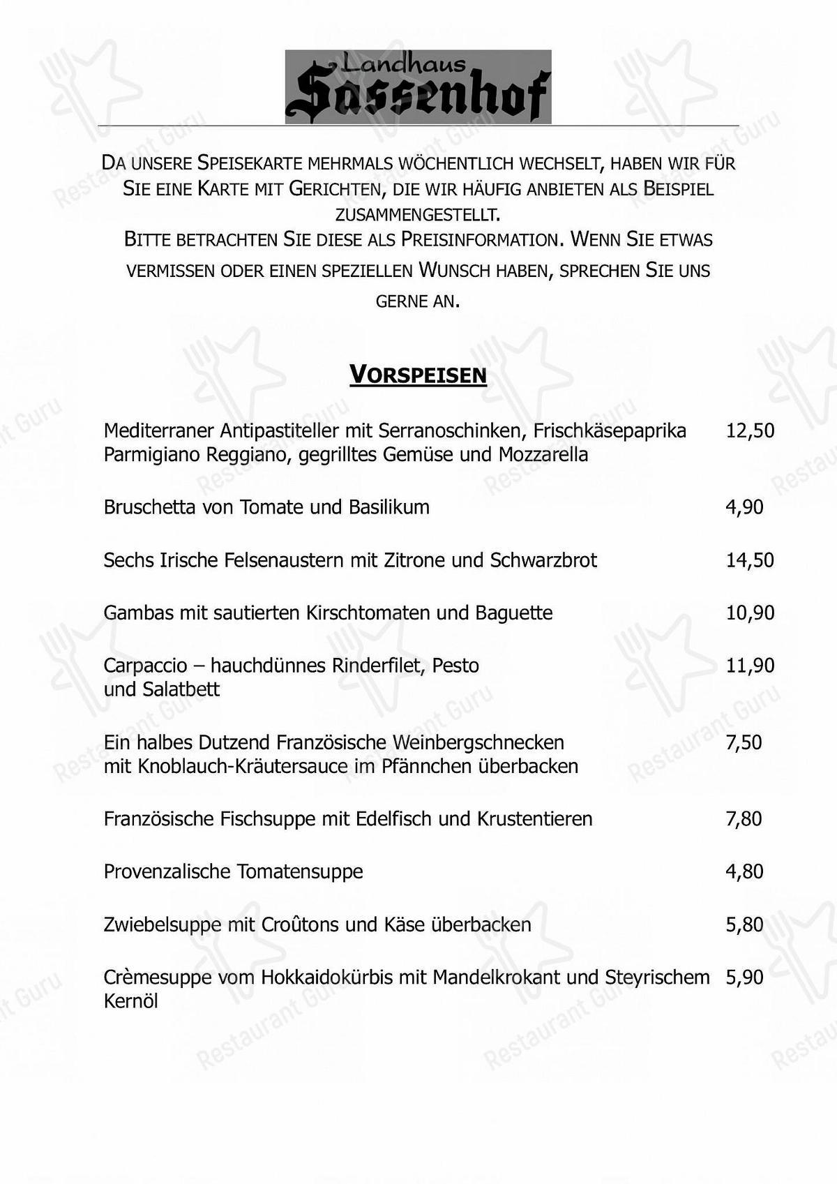 Seht euch die Speisekarte von Landhaus Sassenhof an