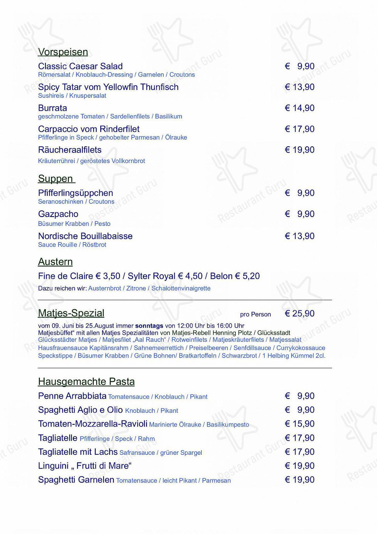 Marlin Speisekarte - Gerichte und Getränke
