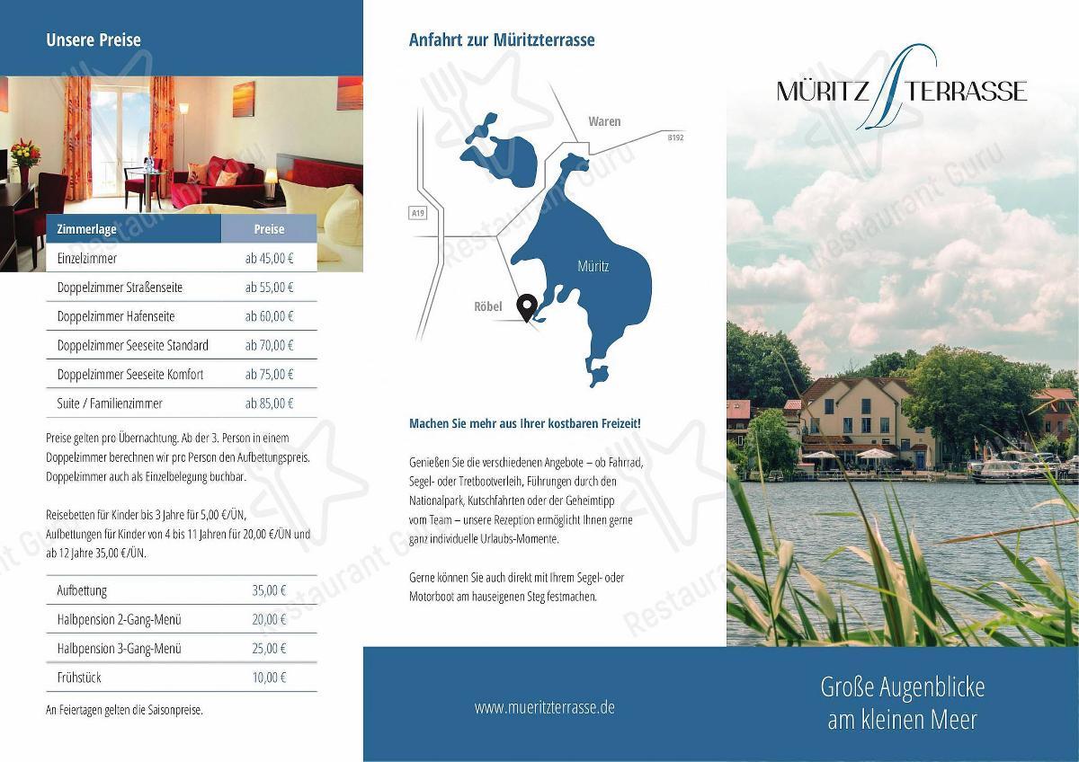 Взгляните на меню Müritzterrasse