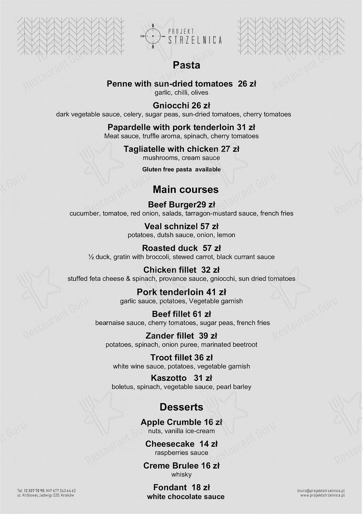 Menu Food for the Projekt Strzelnica restaurant