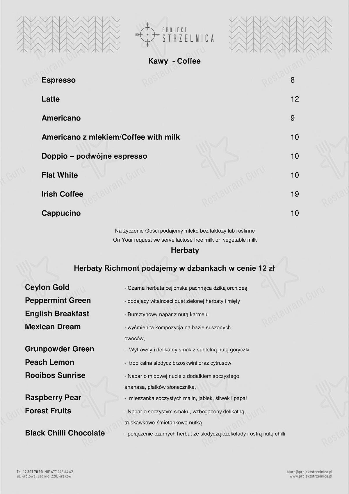 Menu for the Projekt Strzelnica restaurant