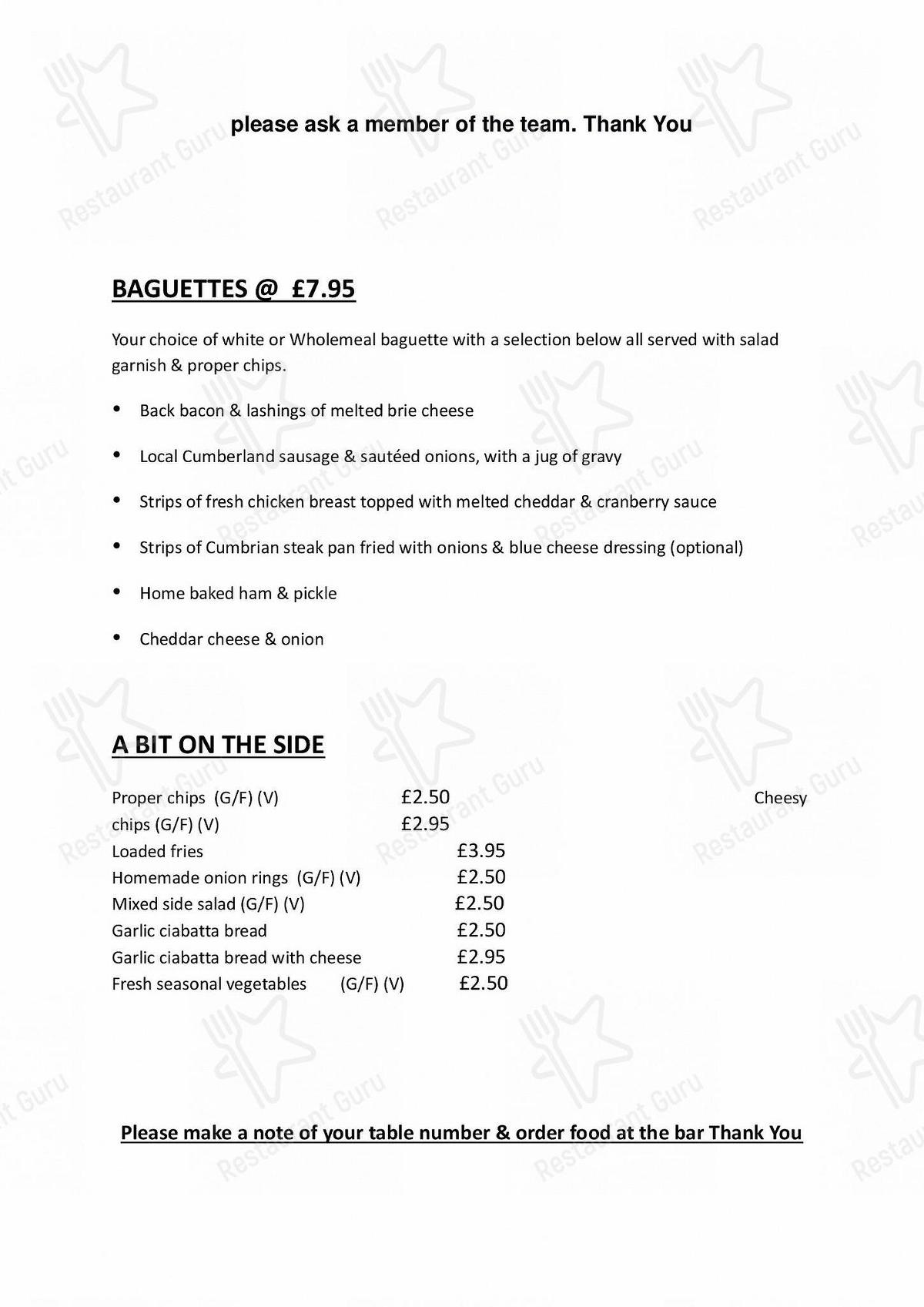 The George menu - meals and drinks