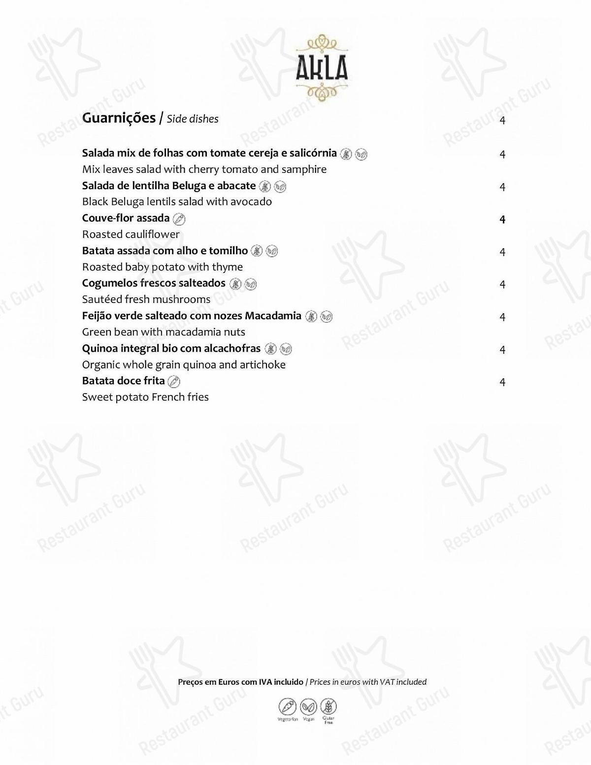AKLA menu - dishes and beverages