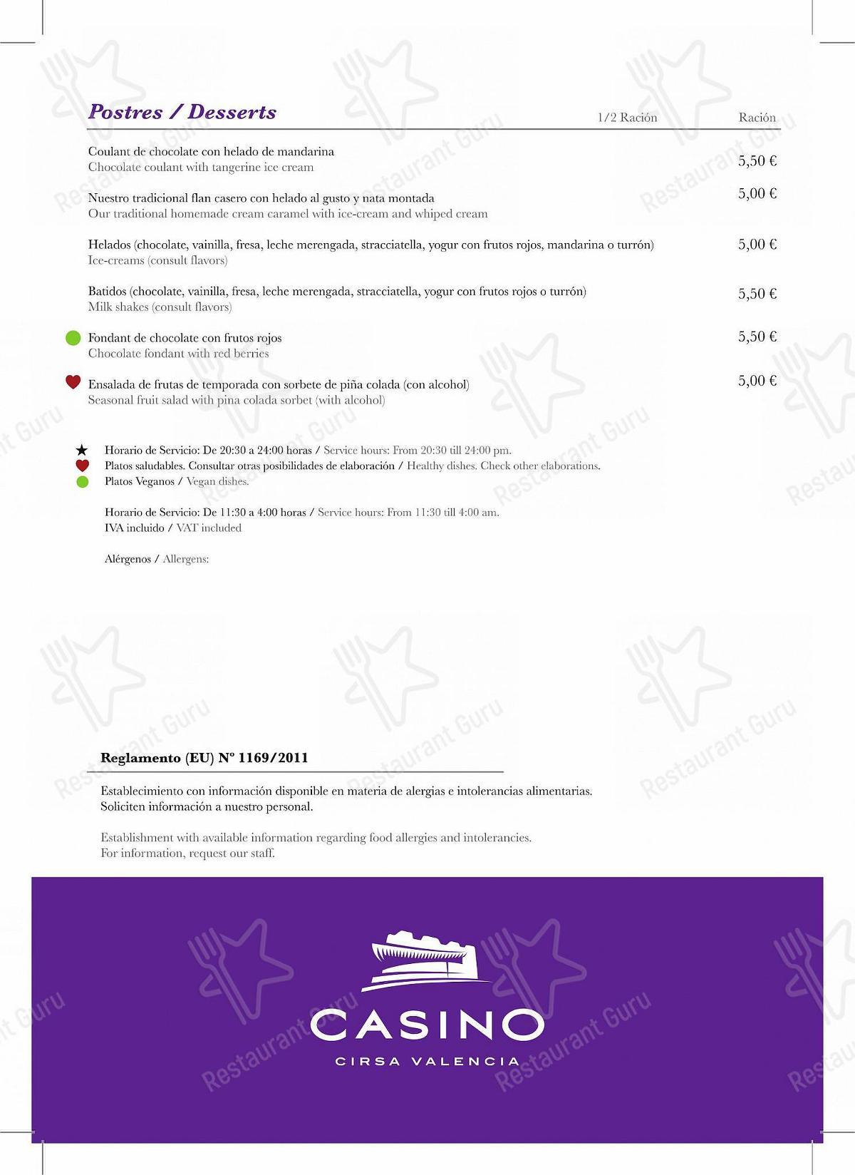 Carta de Cirsa Valencia restaurante