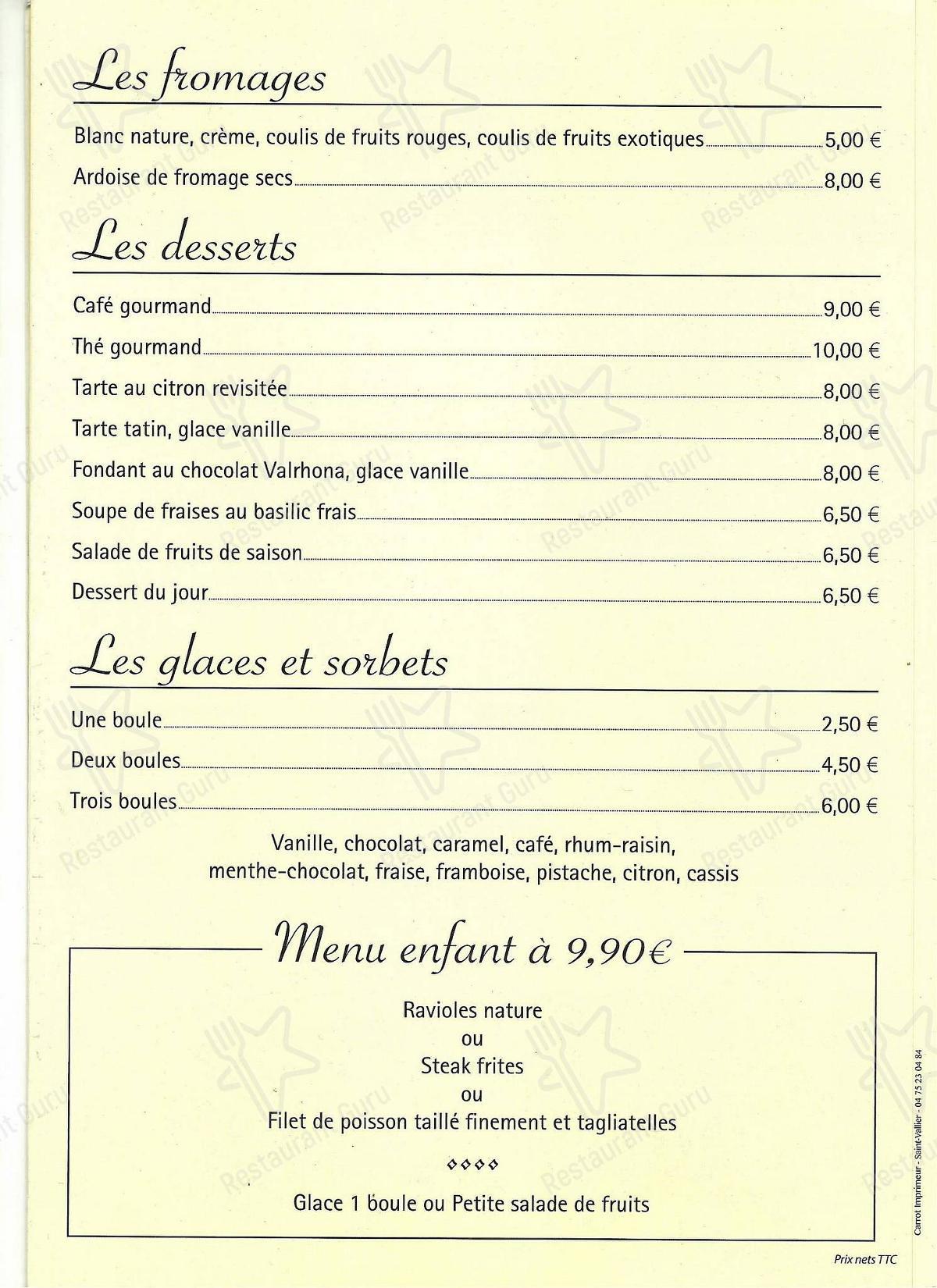 Carta de La Cuisine - comidas y bebidas
