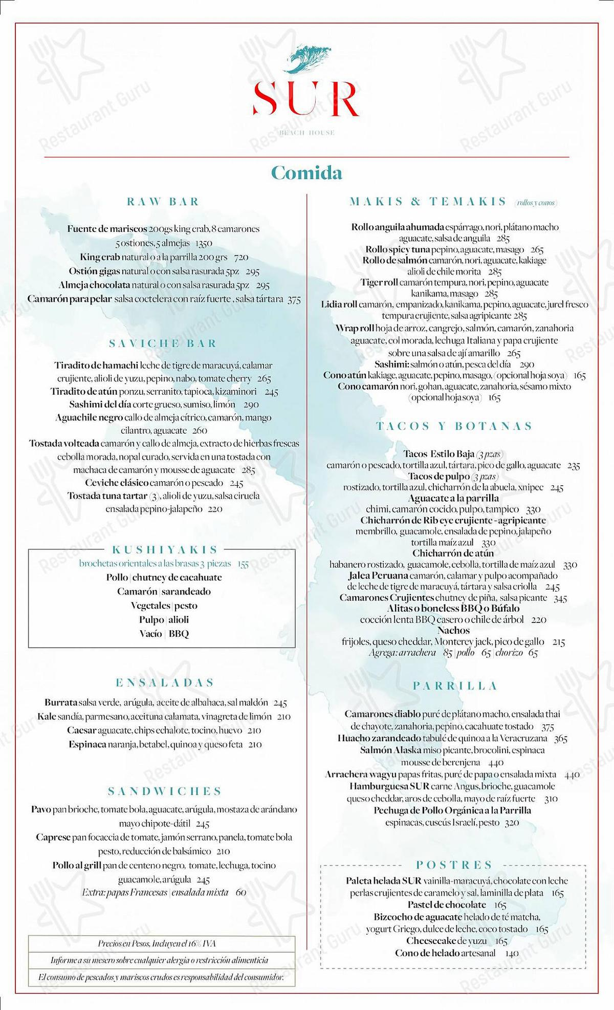 SUR Beach House menu - meals and drinks