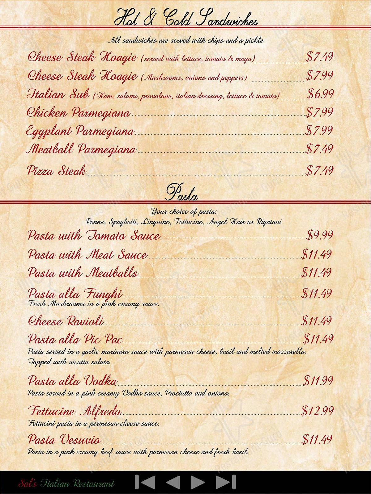 Check out the menu for Sal's italian restaurant