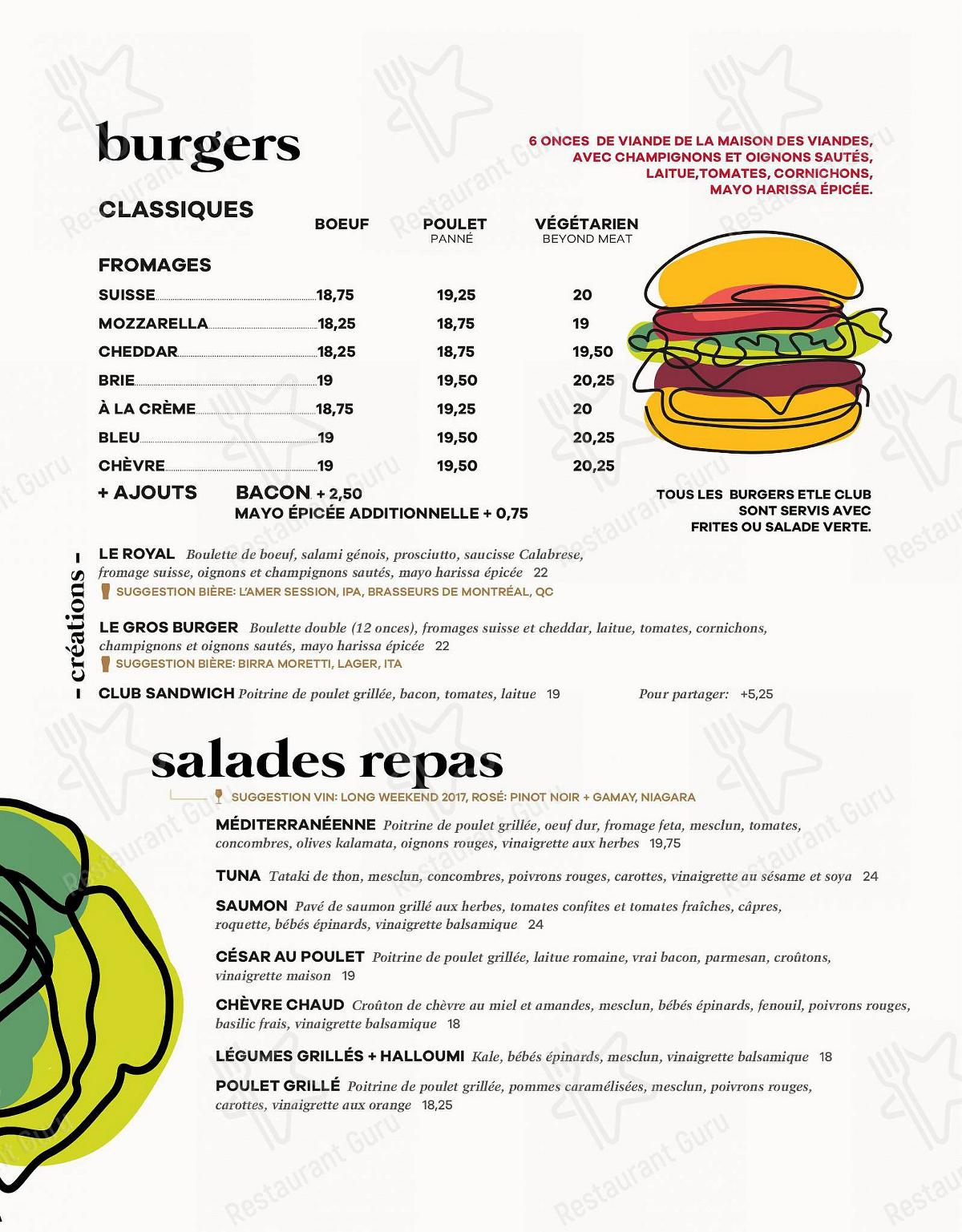 Pizzé menu - dishes and beverages