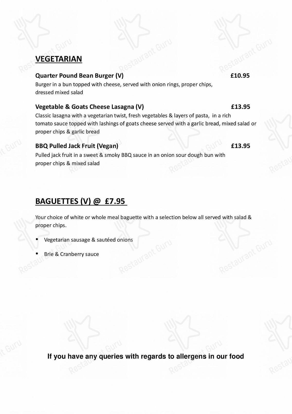 The George menu