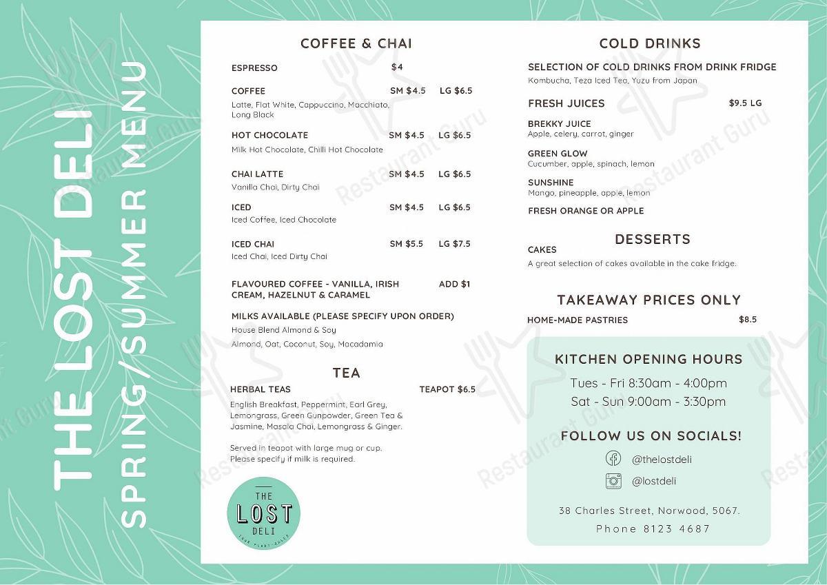 Check out the menu for The Lost Deli