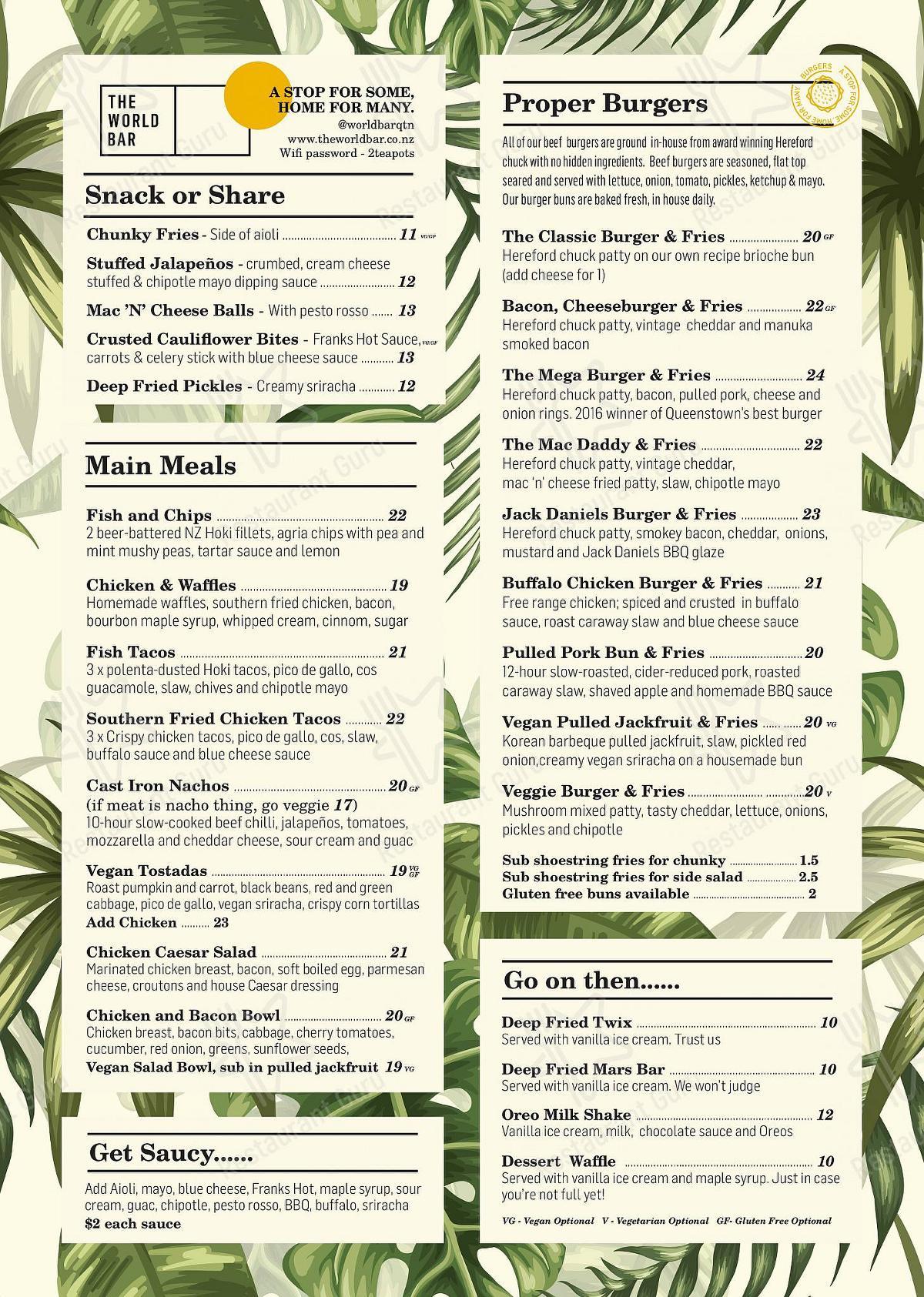 The World Bar menu
