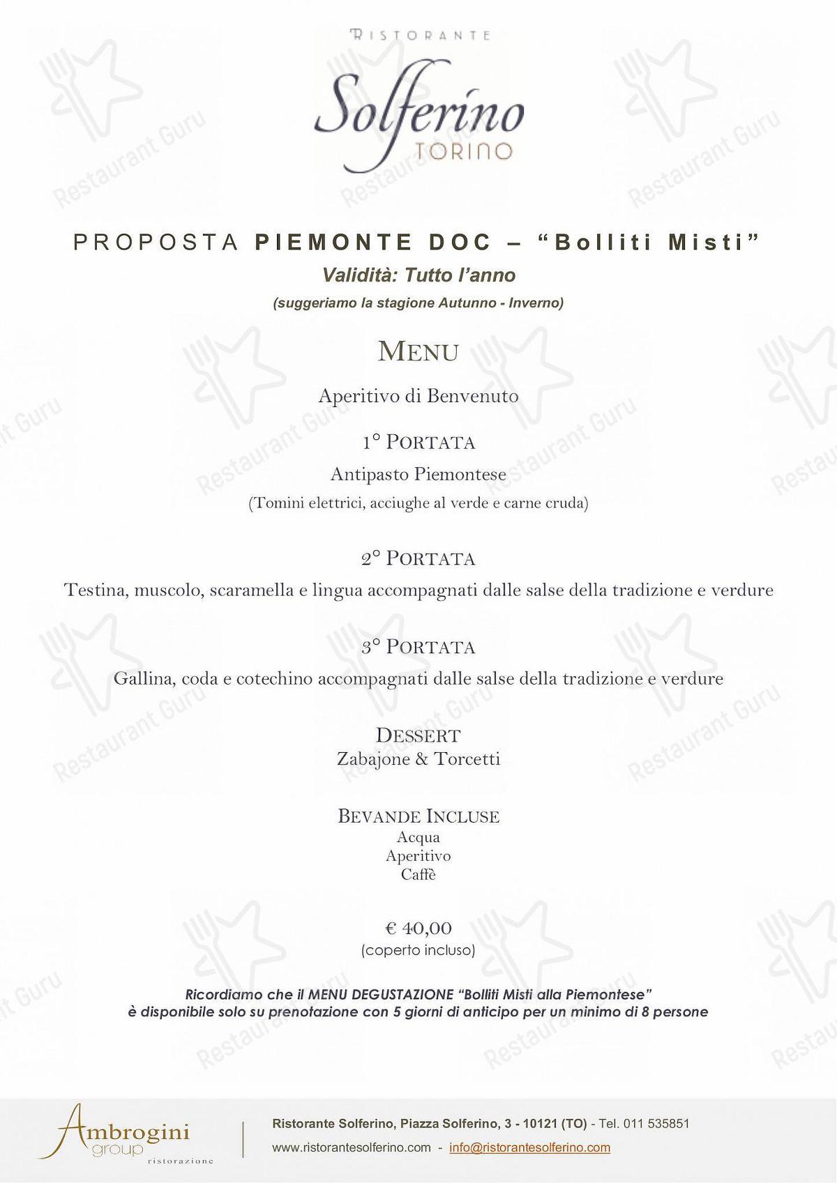 Menu per Ristorante Solferino Torino ristorante