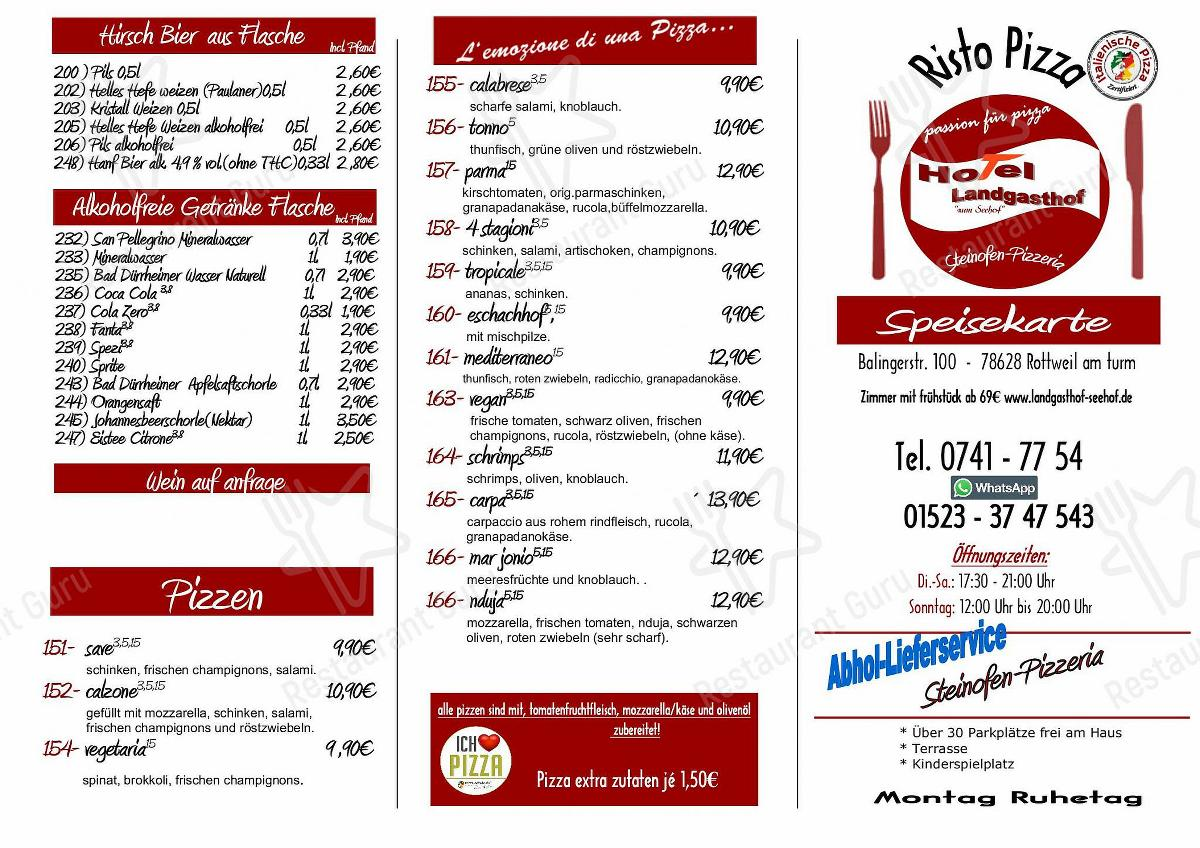 Check out the menu for Zum Seehof