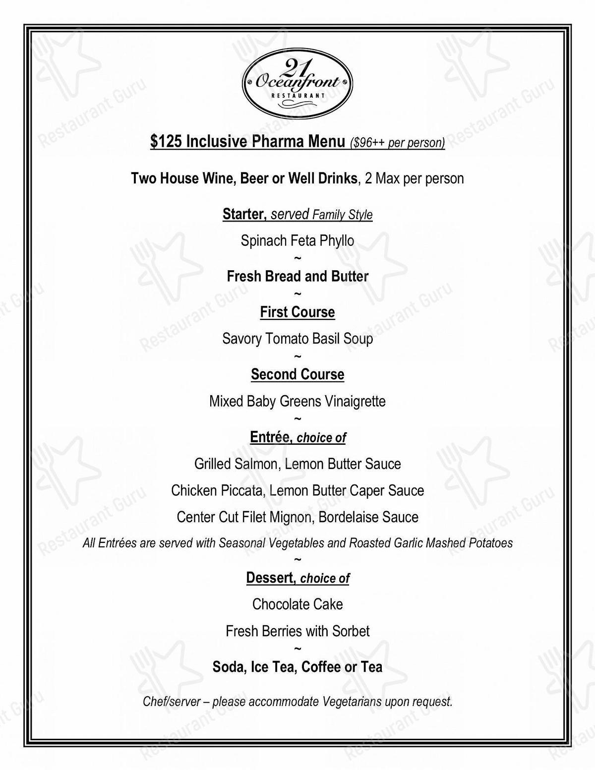Menu for the 21 Oceanfront restaurant