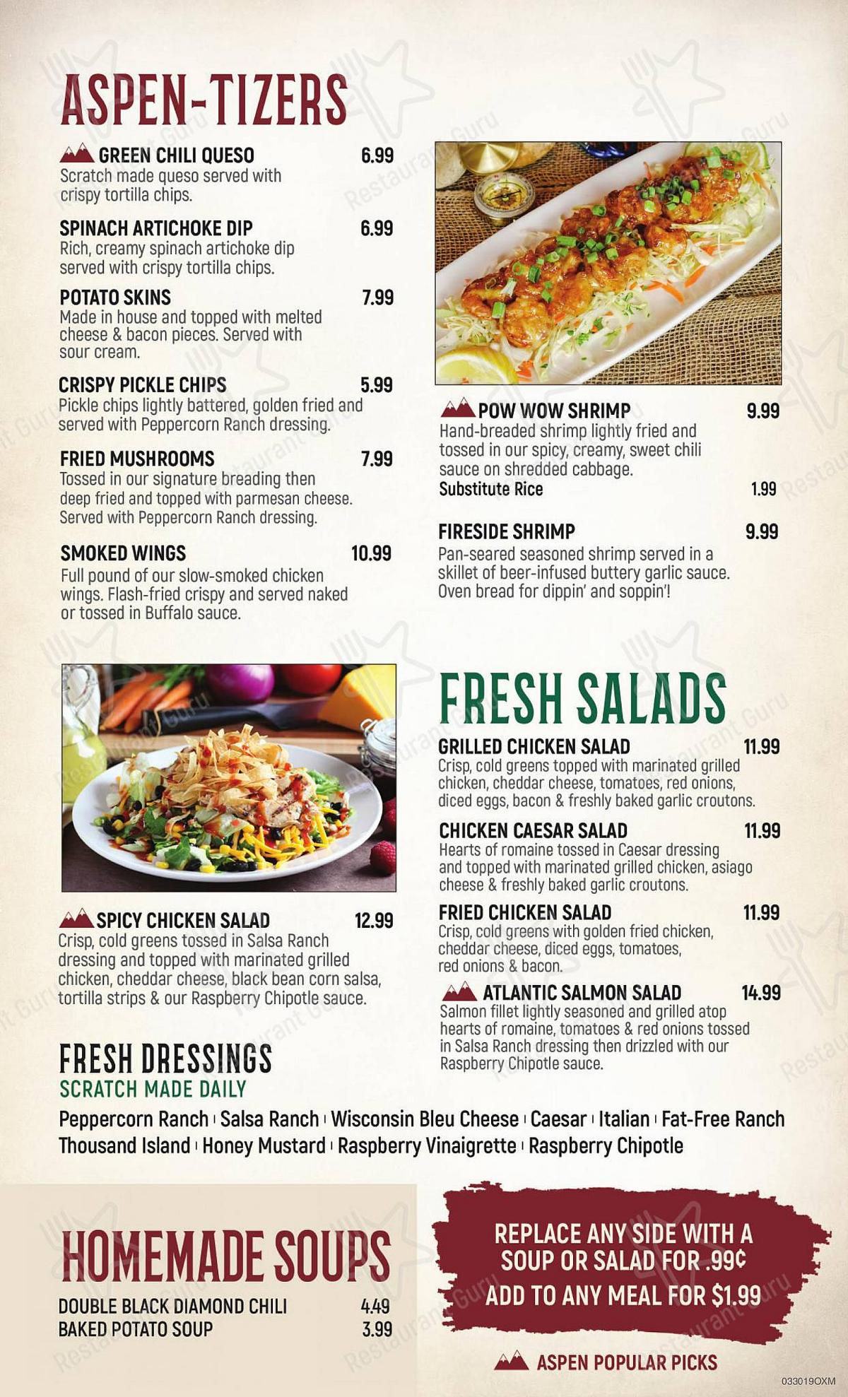 Aspen Creek Grill - Restaurant Noblesville menu - dishes and beverages