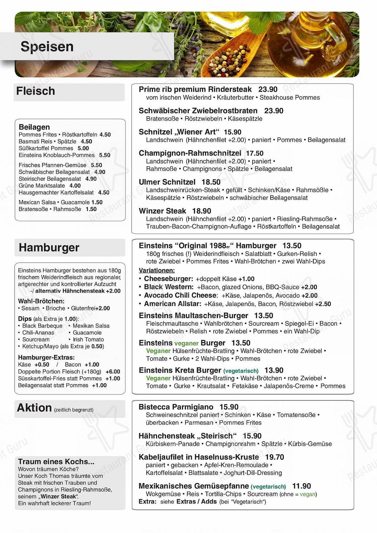 Speisekarte von Café Einstein pub & bar