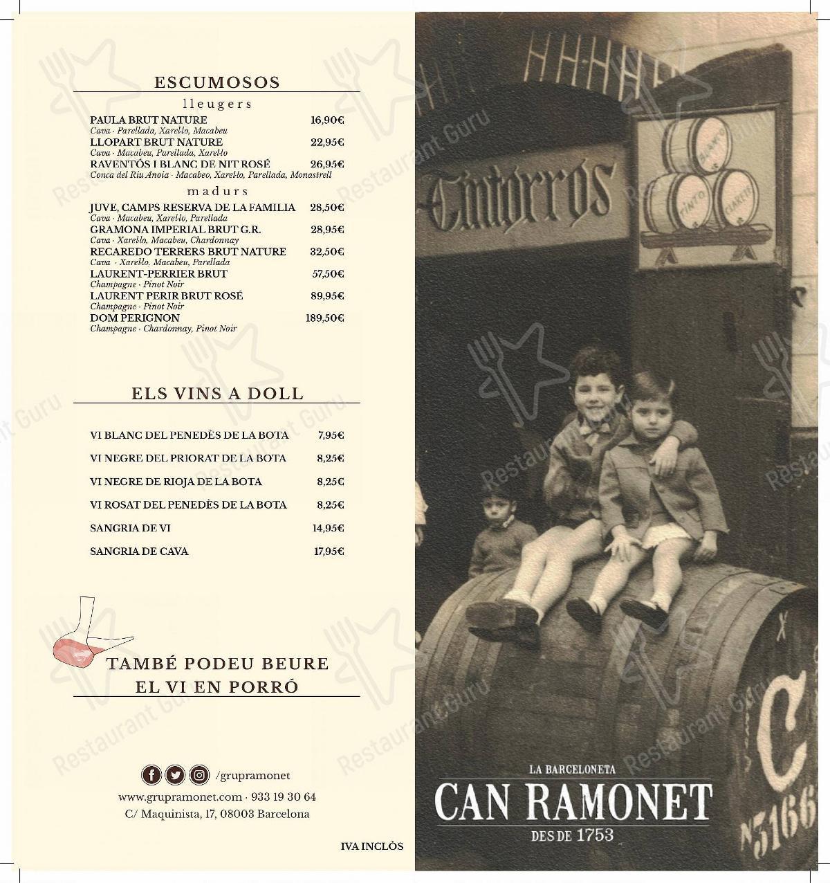 Mira la carta de Can Ramonet