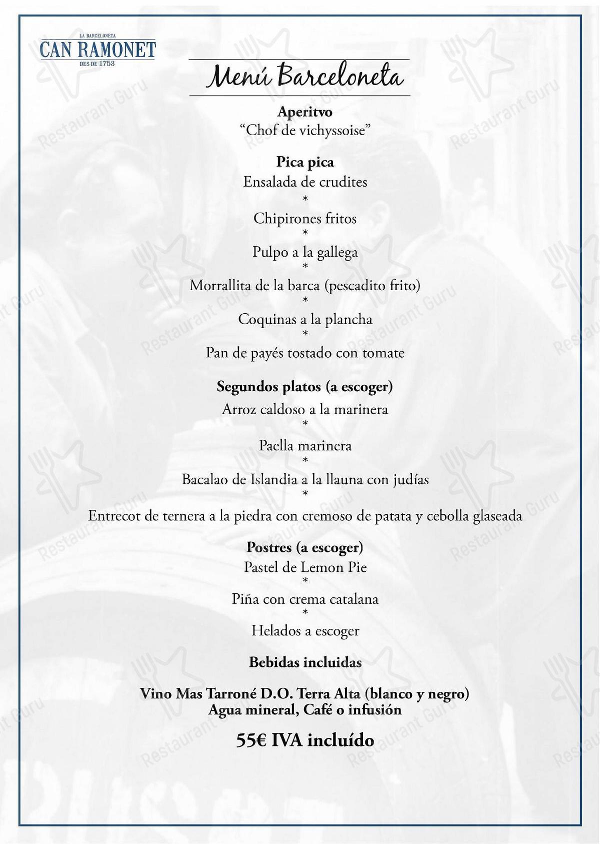 Carta de Can Ramonet - platos y bebidas