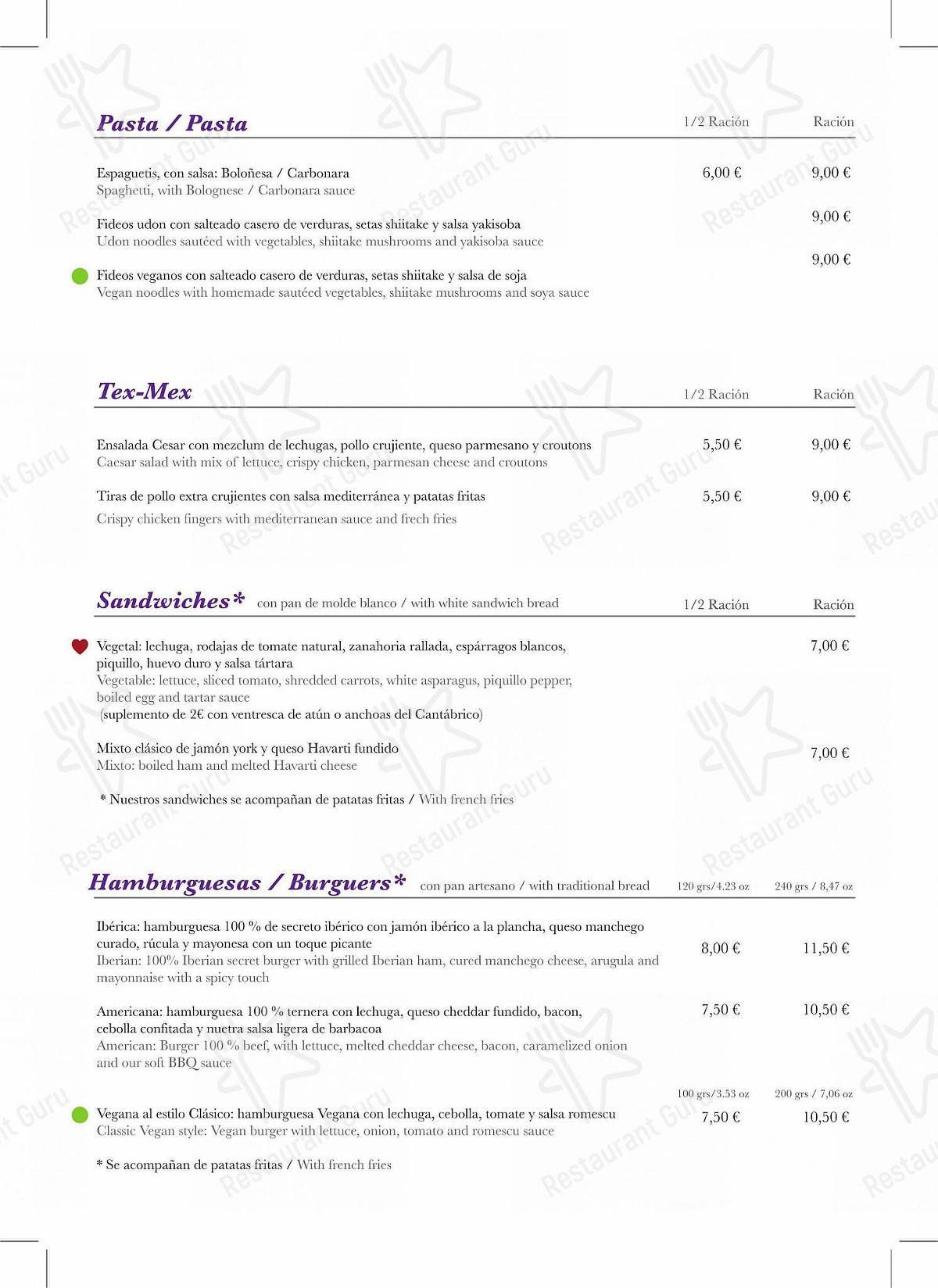 Carta de Cirsa Valencia - comidas y bebidas