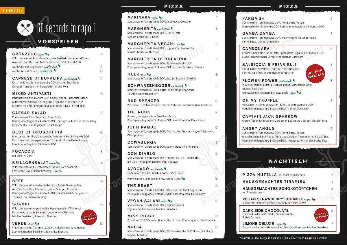 Menu at 20 Seconds To Napoli pizzeria, Dortmund