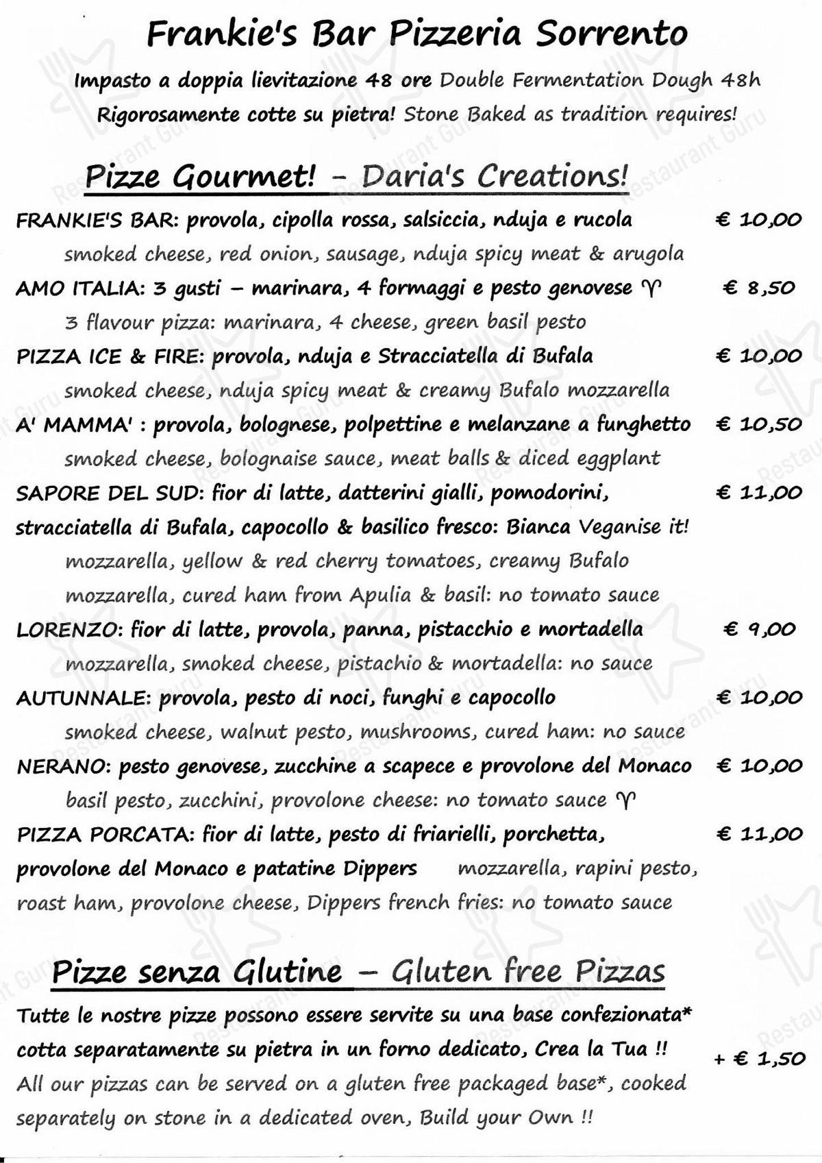 Frankie's Bar Speisekarte - Gerichte und Getränke