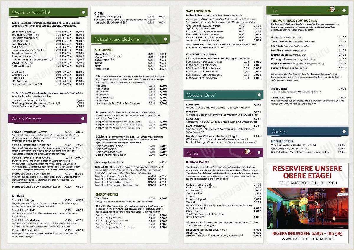 Speisekarte von Freudenhaus cafe