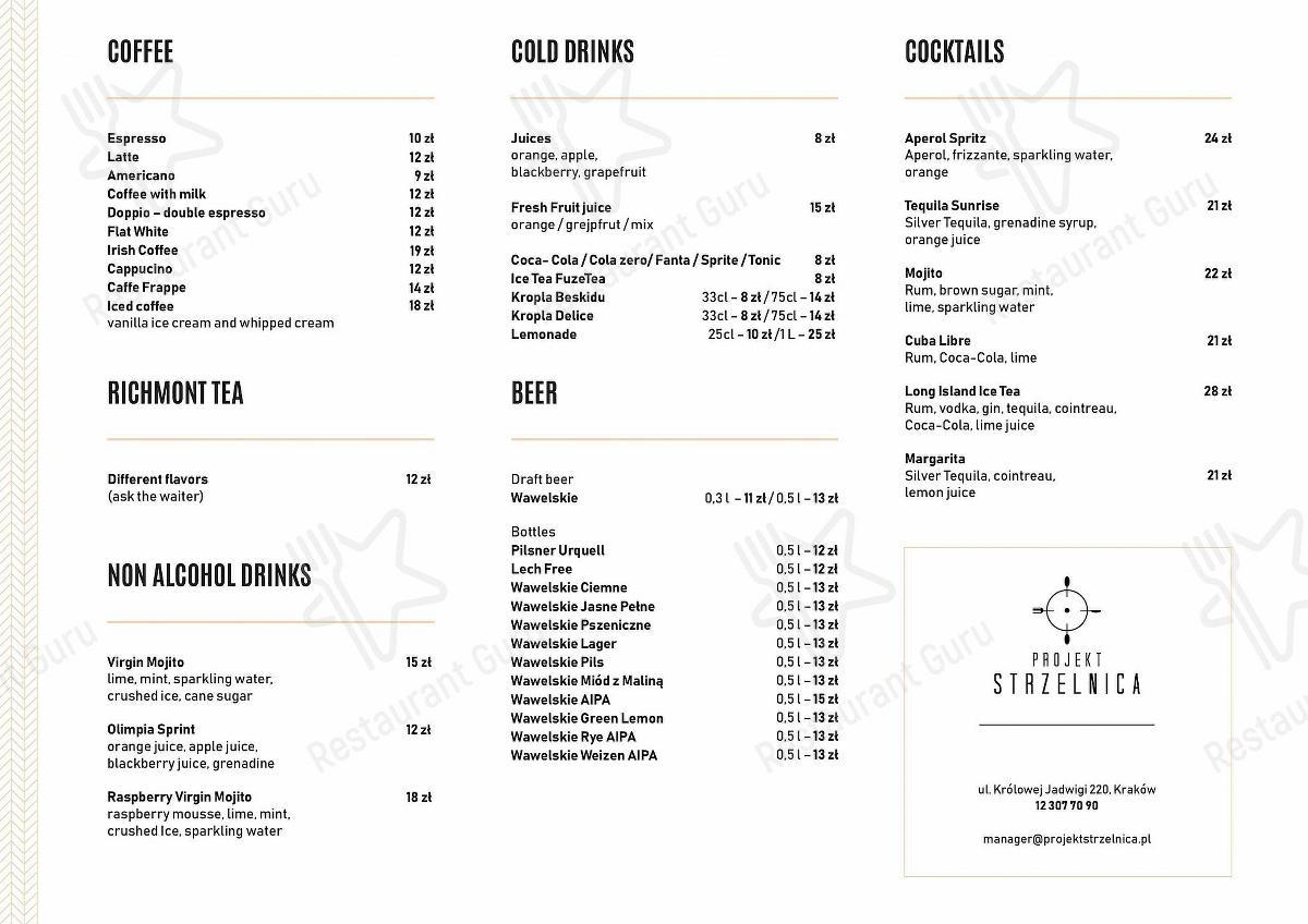 Check out the menu for Projekt Strzelnica