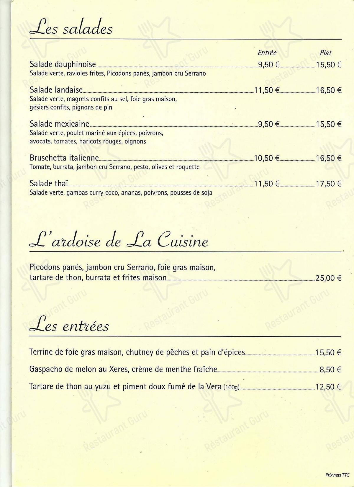 Mira la carta de La Cuisine