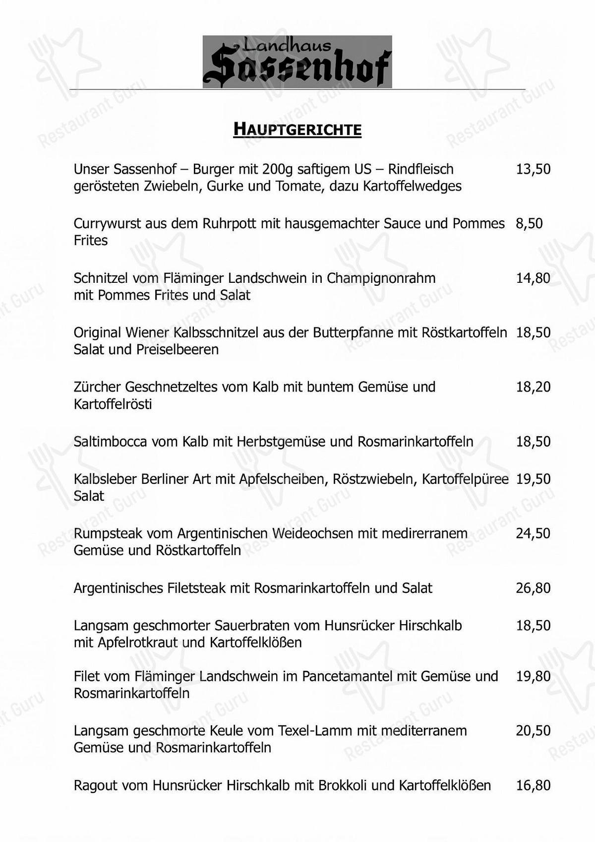 Landhaus Sassenhof Speisekarte - Gerichte und Getränke