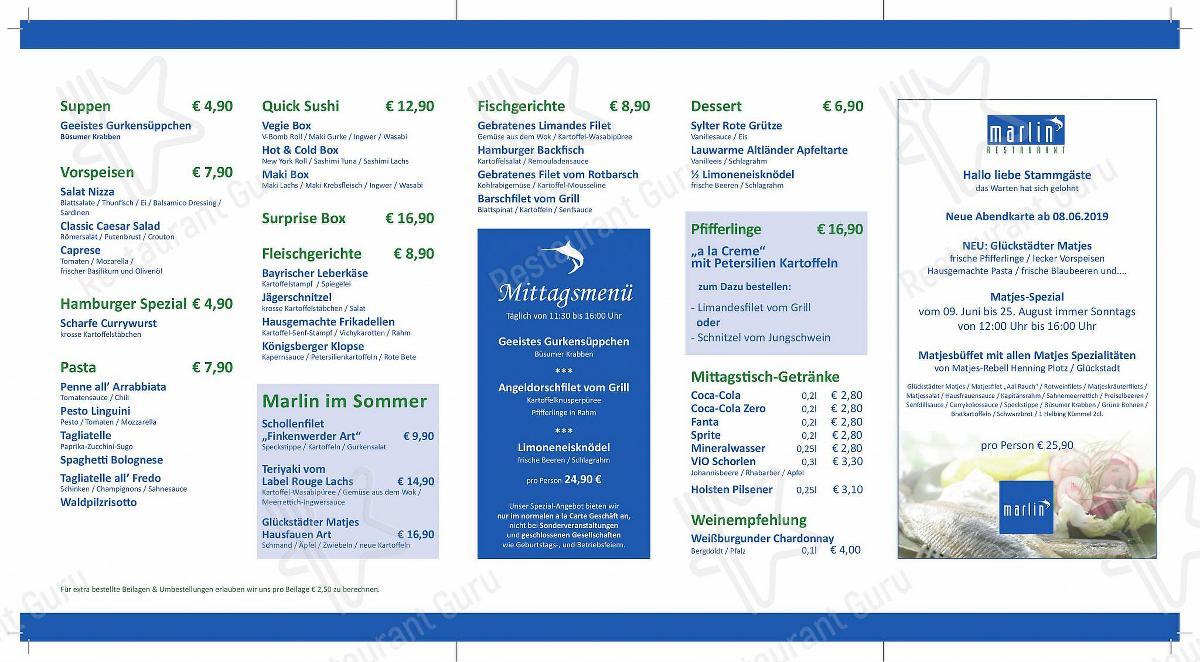 Marlin Speisekarte - Essen und Getränke