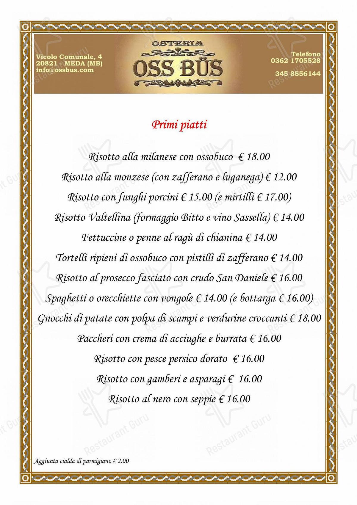 Guarda il menu di Osteria Oss Bus