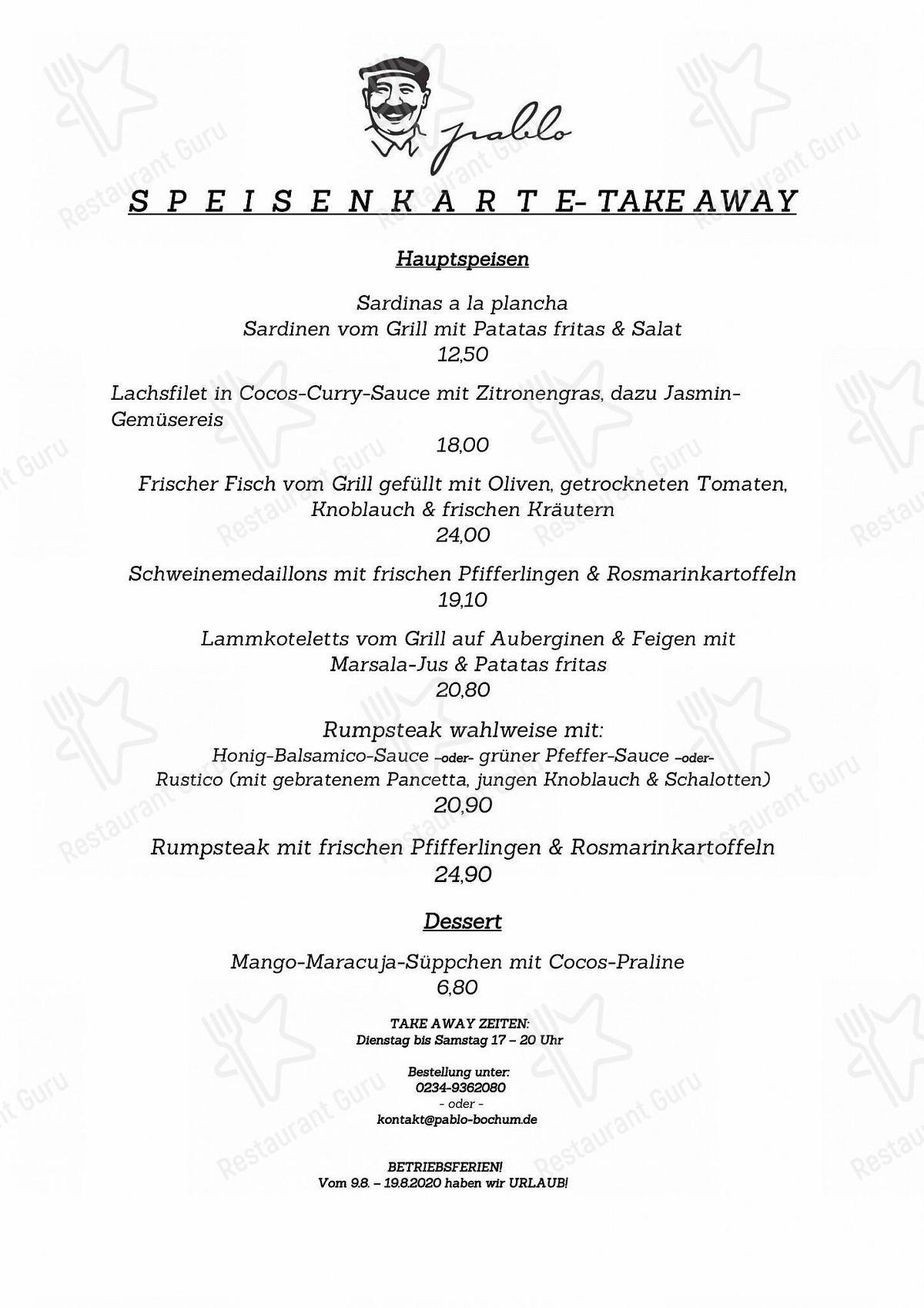 Pablo Restaurant & Kneipe Speisekarte - Gerichte und Getränke