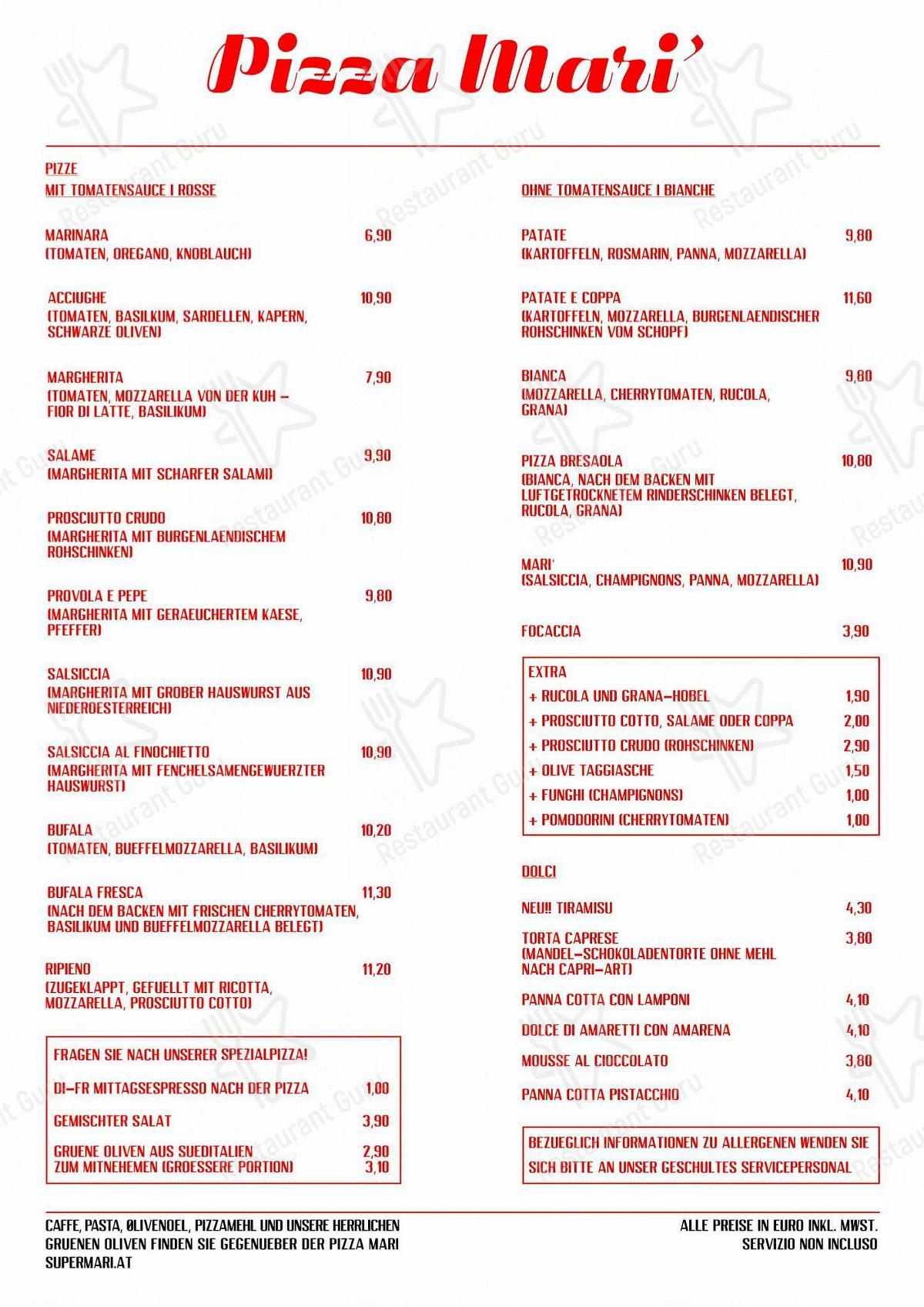Menu pour Pizza Mari - plats et boissons