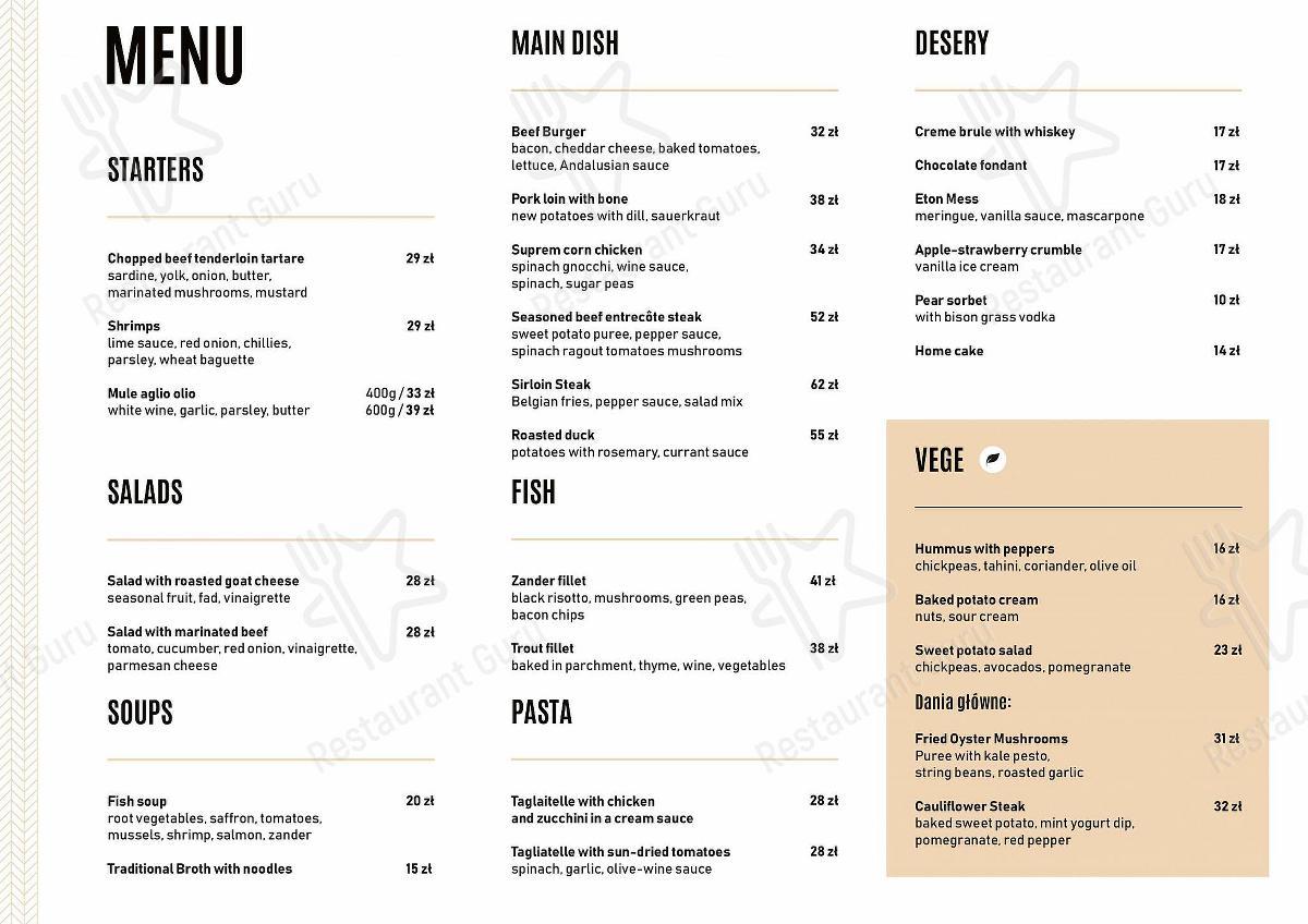 Projekt Strzelnica menu - dishes and beverages