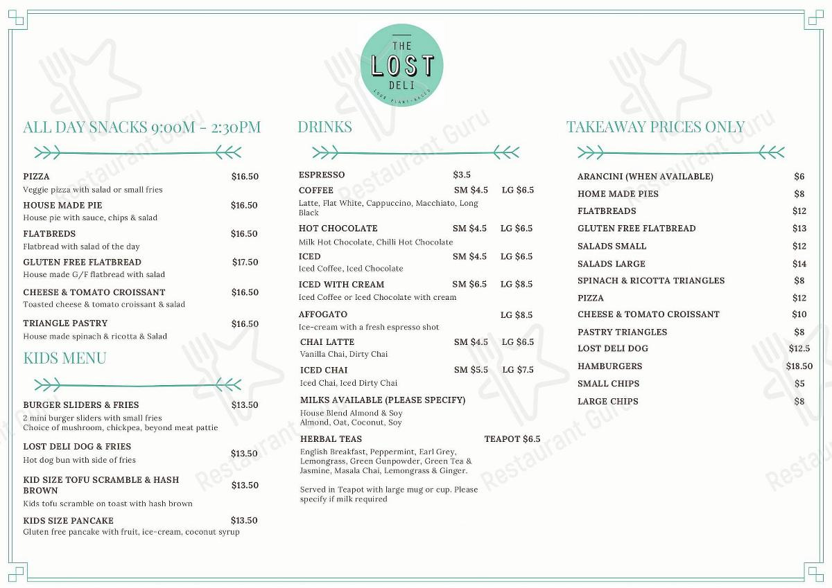 The Lost Deli menu - dishes and beverages