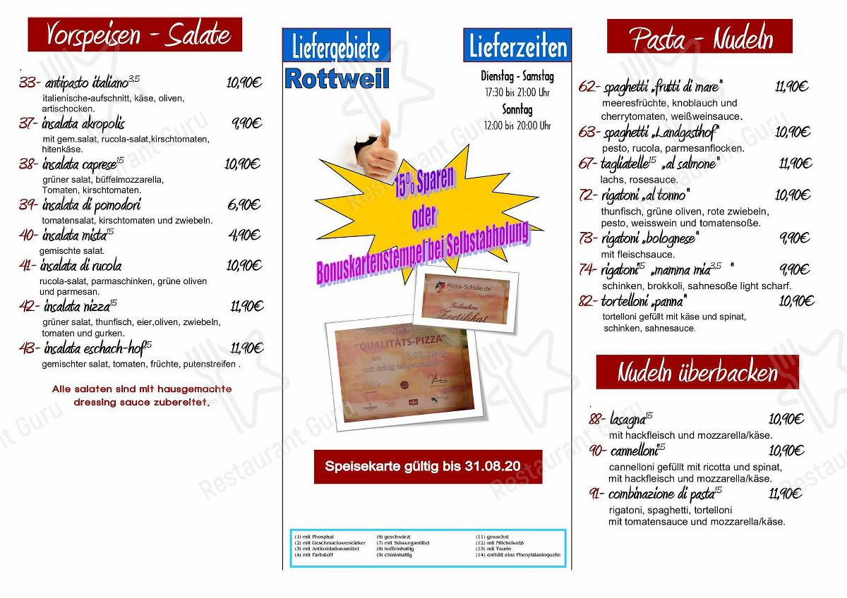 Zum Seehof menu - dishes and beverages
