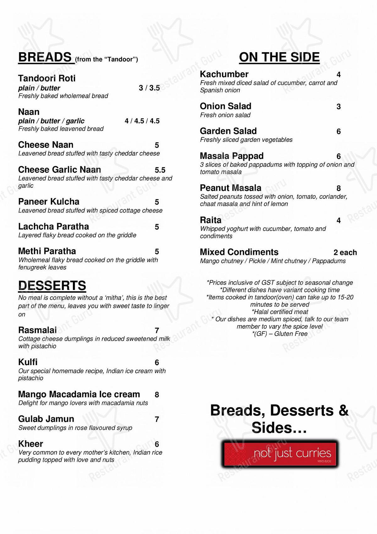 not just curries menu - dishes and beverages
