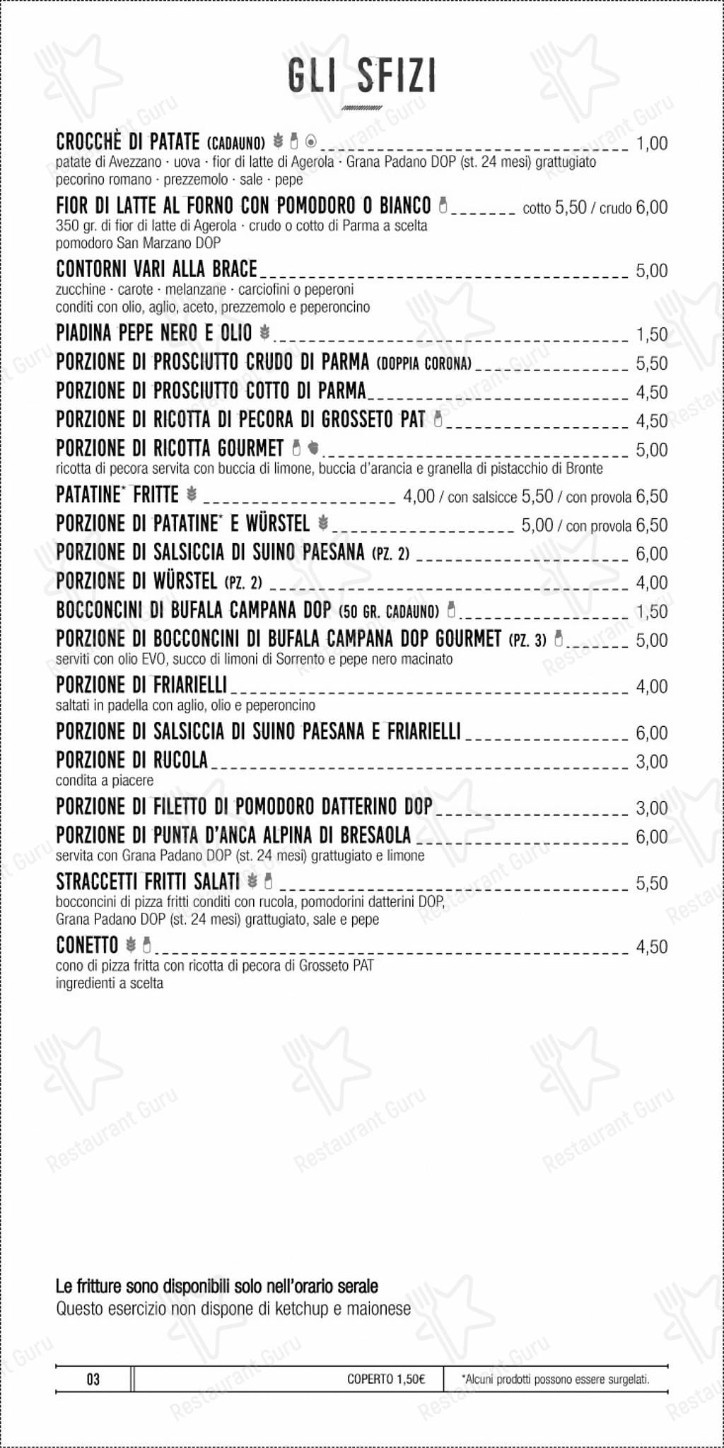 Menu pour Di Napoli - plats et boissons