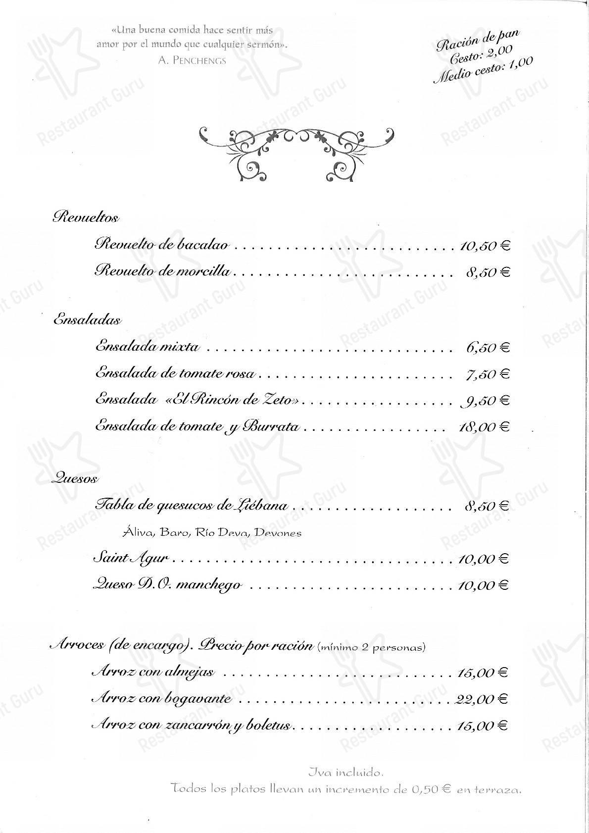 Check out the menu for El Rincon de Zeto